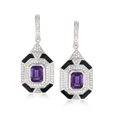3.00 ct. t.w. Amethyst and .70 ct. t.w. White Topaz Drop Earrings with Black Enamel in Sterling Silver, , default