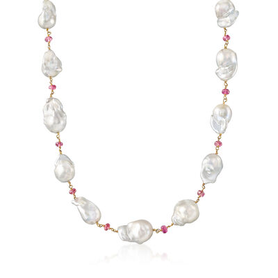 Mazza Cultured Baroque Pearl and Tourmaline Station Necklace in 14kt Yellow Gold, , default