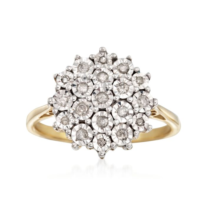 .26 ct. t.w. Diamond Cluster Ring in Two-Tone Sterling Silver, , default
