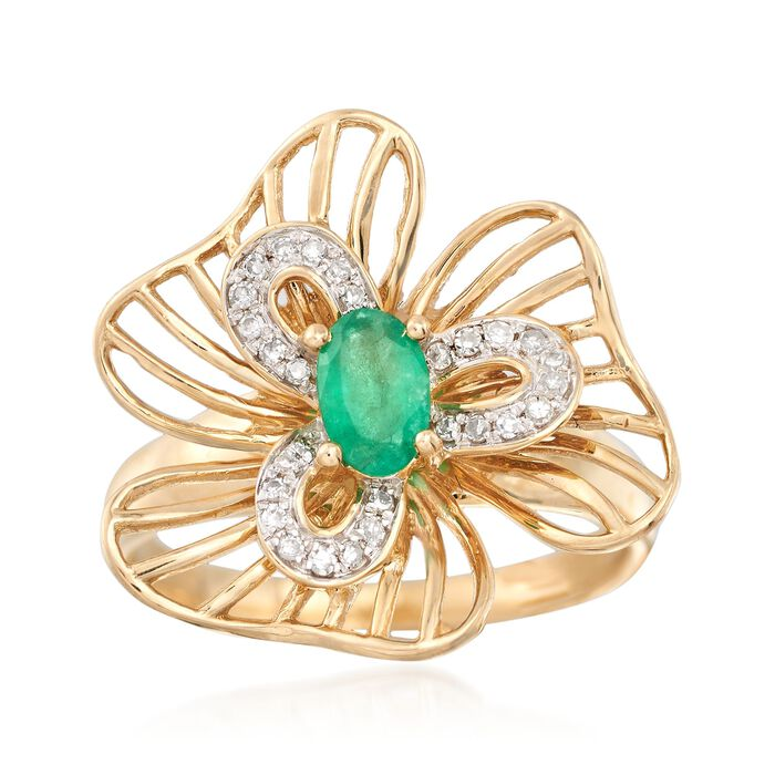 .30 Carat Emerald and .13 ct. t.w. Diamond Openwork Floral Ring in 14kt Yellow Gold, , default
