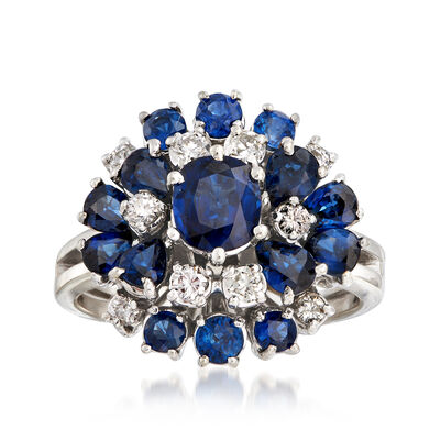 C. 1970 Vintage 2.90 ct. t.w. Sapphire and .40 ct. t.w. Diamond Cluster Ring in 18kt White Gold, , default