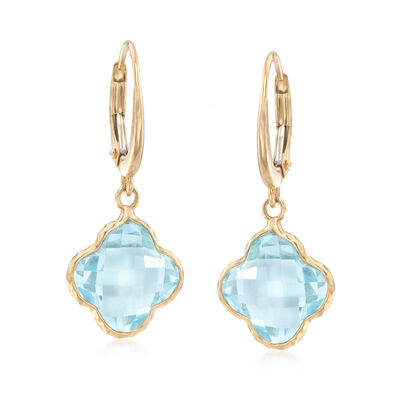9.00 ct. t.w. Blue Topaz Drop Earrings in 14kt Yellow Gold, , default
