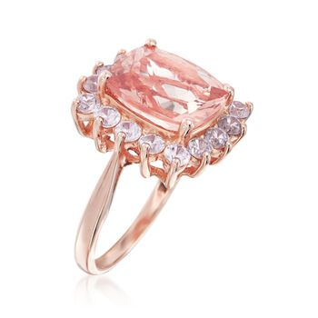4.90 Carat Morganite and 2.30 ct. t.w. White Zircon Ring in 18kt Rose Gold Over Sterling, , default
