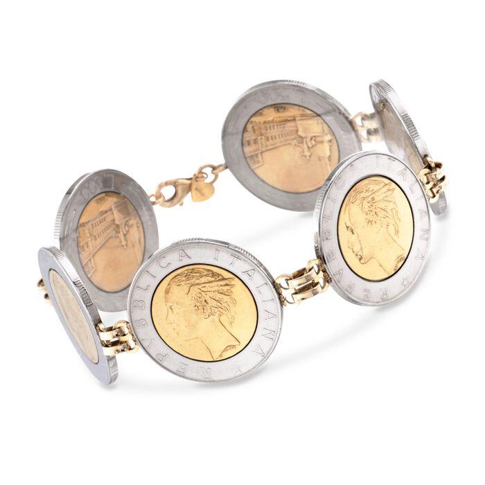 "Italian Genuine 500-Lira Coin Bracelet with 14kt Yellow Gold. 8"", , default"