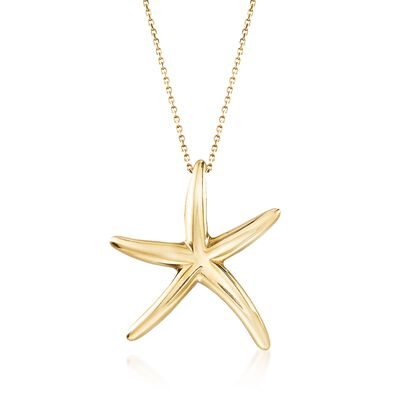 Italian 18kt Yellow Gold Starfish Drop Necklace, , default