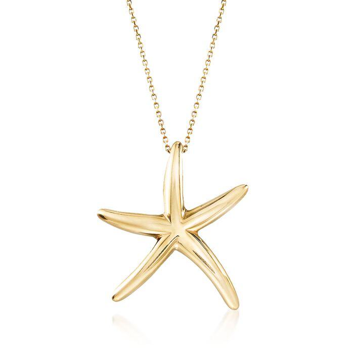"Italian 18kt Yellow Gold Starfish Drop Necklace. 18"", , default"