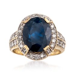 7.50 Carat Sapphire and .80 ct. t.w. Diamond Ring in 18kt Yellow Gold, , default
