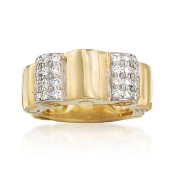 "C. 2000 Vintage Chanel ""Profil De Camellia"" .65 ct. t.w. Diamond Ring in 18kt Yellow Gold. Size 4.5, , default"