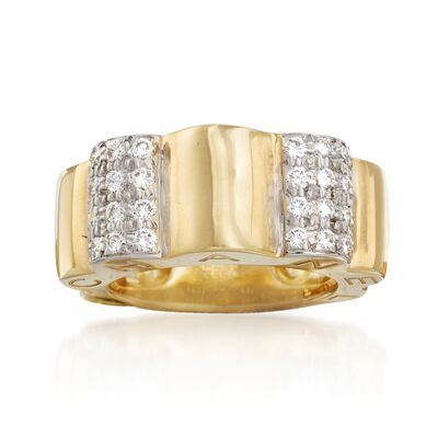 "C. 2000 Vintage Chanel ""Profil De Camellia"" .65 ct. t.w. Diamond Ring in 18kt Yellow Gold, , default"