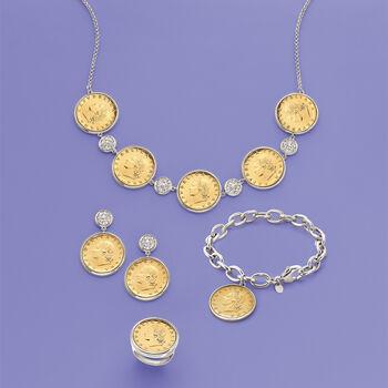 Italian Genuine 20-Lira Coin Charm Bracelet in Sterling Silver, , default
