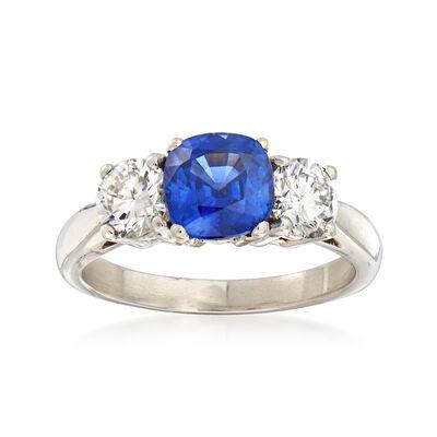 1.50 Carat Sapphire and .85 ct. t.w. Diamond Ring in Platinum, , default