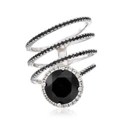 Black Onyx and .90 ct. t.w. Black Spinel Ring With .40 ct. t.w. White Topaz in Sterling, , default