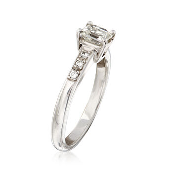C. 1980 Vintage .62 ct. t.w. Princess-Cut and Round Diamond Ring in Platinum. Size 5.25
