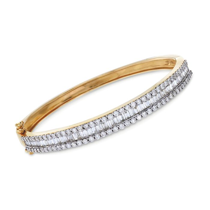 """C. 1990 Vintage 3.70 ct. t.w. Baguette and Round Diamond Bangle Bracelet in 14kt Yellow Gold. 6"""", , default"""