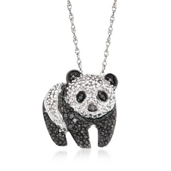 """.10 ct. t.w. Black and White Diamond Panda Pendant Necklace in Sterling Silver. 18"""", , default"""