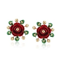 Italian 14kt Multicolored Gold Rose Earrings, , default