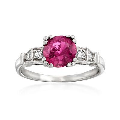 C. 1950 Vintage 1.35 Carat Pink Tourmaline and .12 ct. t.w. Diamond Ring in Platinum