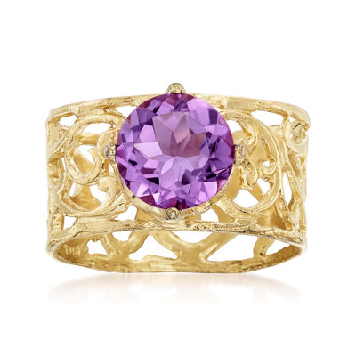 1.50 Carat Amethyst Solitaire Ring in 18kt Gold Over Sterling, , default