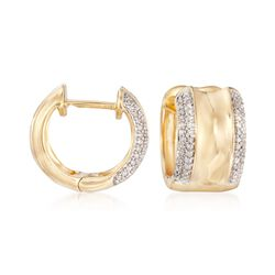 ".25 ct. t.w. Diamond Huggie Hoop Earrings in 14kt Yellow Gold Over Sterling. 1/2"", , default"