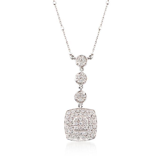 ALOR .46 ct. t.w. Diamond Multi-Tier Square Pendant Necklace in 18kt White Gold