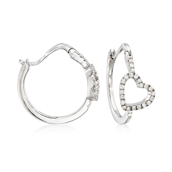 """.50 ct. t.w. Diamond Heart Hoop Earrings. 3/4"""""""