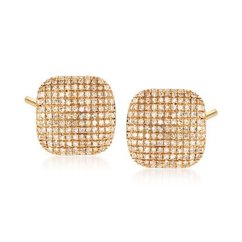 .40 ct. t.w. Pave Diamond Square Stud Earrings in 14kt Yellow Gold, , default