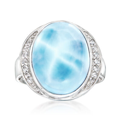Larimar and .20 ct. t.w. White Topaz Ring in Sterling Silver