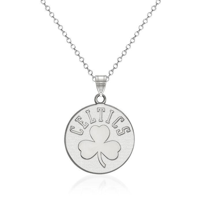 "Sterling Silver NBA Boston Celtics Logo Necklace. 18"", , default"