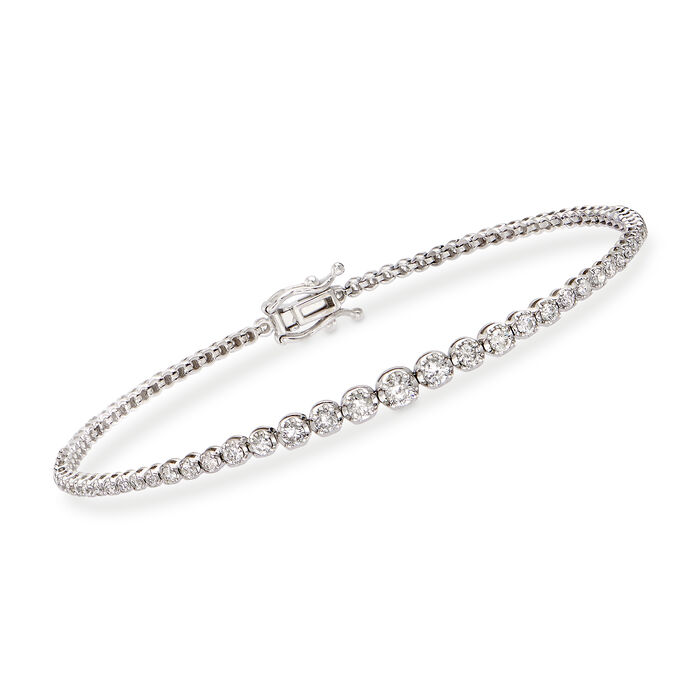 "1.50 ct. t.w. Diamond Graduated Bracelet in 14kt White Gold. 7"", , default"