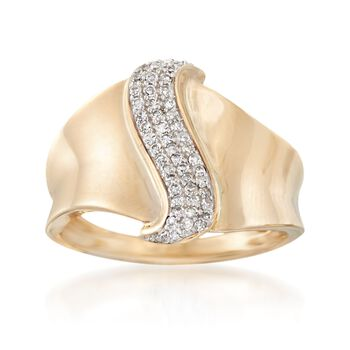 .20 ct. t.w. Pave Diamond Center Ring in 14kt Yellow Gold, , default