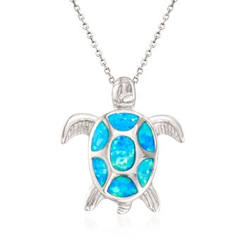 """Blue Synthetic Opal Turtle Pendant Necklace in Sterling Silver. 18"""", , default"""