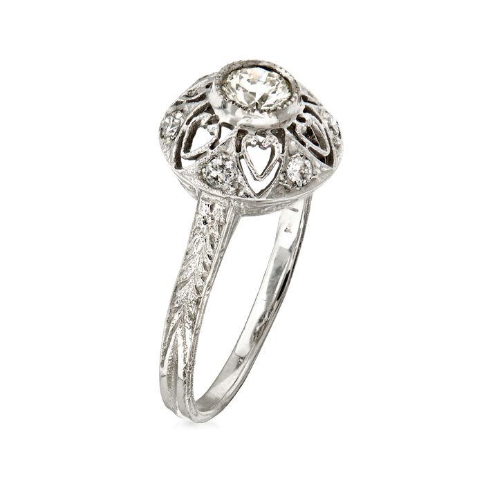 C. 2000 Vintage .43 ct. t.w. Diamond Flower Ring in 14kt White Gold