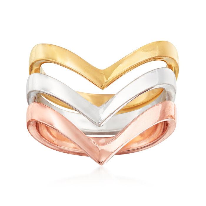 Italian Tri-Colored Sterling Silver Jewelry Set: Three Chevron Rings