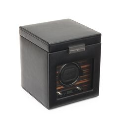 """Roadster"" Black and Ebony Macassar Single Watch Winder With Storage by Wolf Designs, , default"