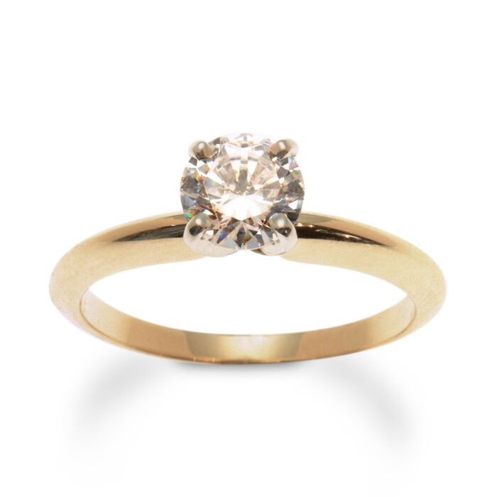 14kt Yellow Gold Four-Prong Engagement Ring Setting, , default