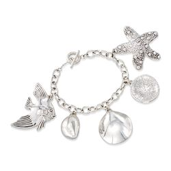 "Sterling Silver Sealife Charm Toggle Bracelet. 7.5"", , default"