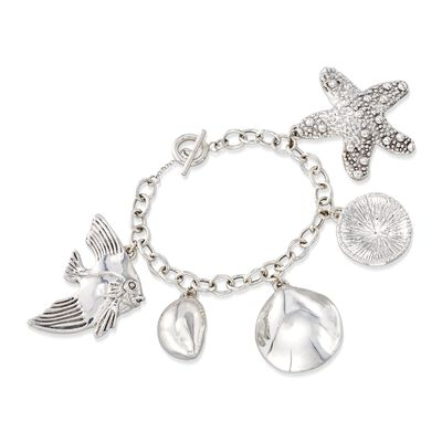 Sterling Silver Sealife Charm Toggle Bracelet, , default