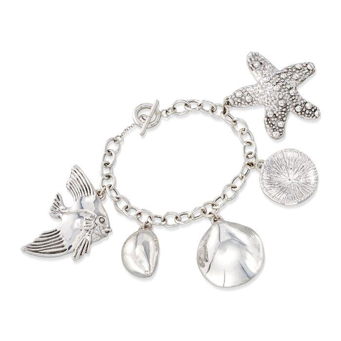"""Sterling Silver Sealife Charm Toggle Bracelet. 7.5"""", , default"""