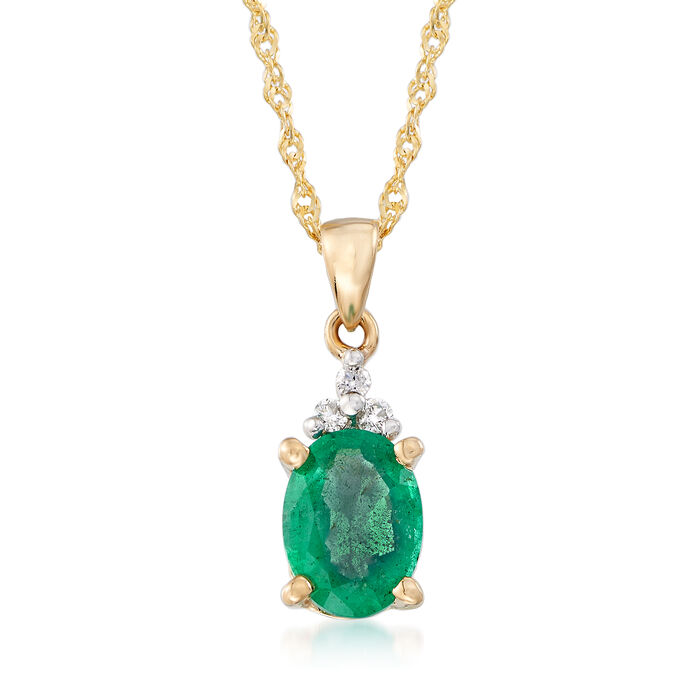 .85 Carat Emerald Pendant Necklace with Diamond Accents in 14kt Yellow Gold. 20""