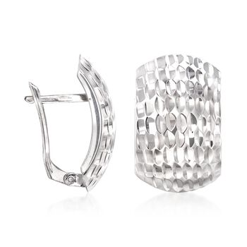 Sterling Silver Textured Curve Earrings, , default