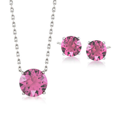 Swarovski Crystal Jewelry Set: Pink Necklace and Earrings in Sterling Silver, , default