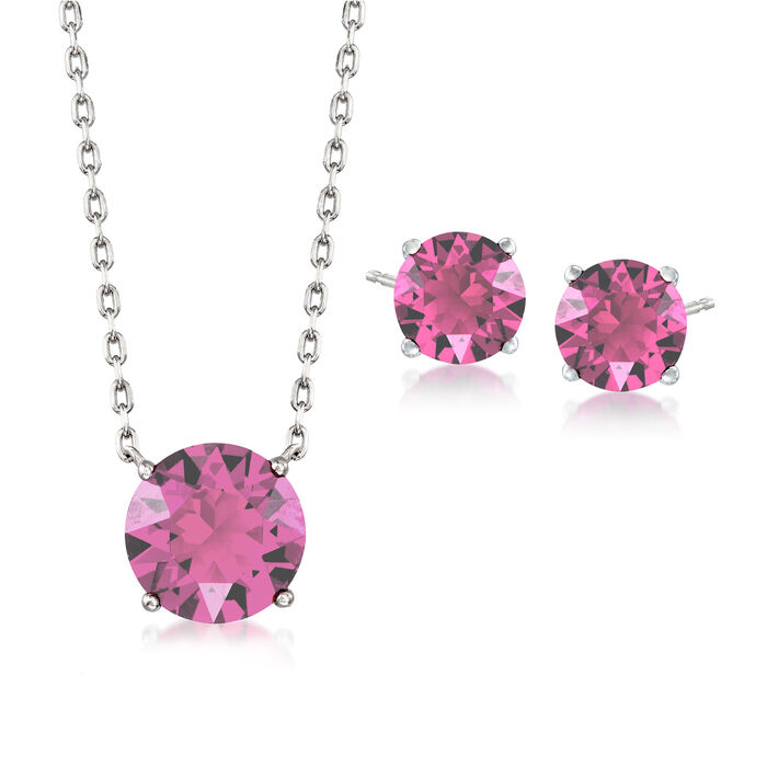"""Jewelry Set: Pink Swarovski Crystal Necklace and Earrings in Sterling Silver. 16"""""""