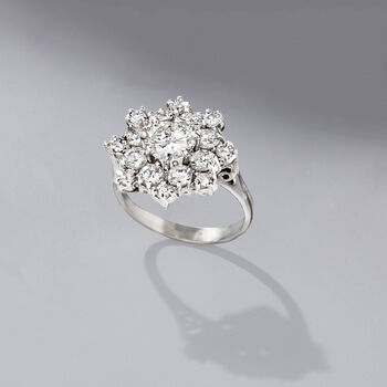 C. 1980 Vintage 3.15 ct. t.w. Diamond Snowflake Ring in 14kt White Gold. Size 7.5, , default