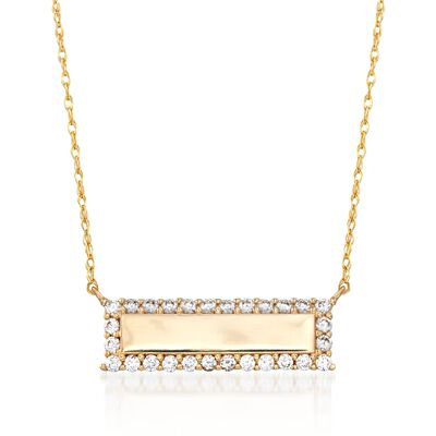 .40 ct. t.w. CZ Bar Necklace in 14kt Yellow Gold, , default