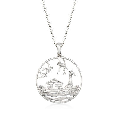 Sterling Silver Noah's Ark Pendant Necklace, , default