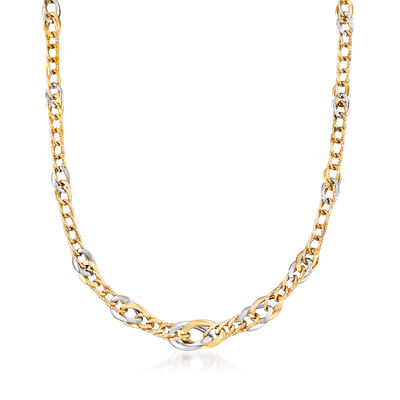 Italian 14kt Two-Tone Gold Graduated Link Necklace, , default