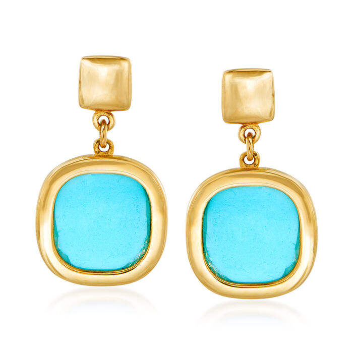 Italian Turquoise Drop Earrings in 14kt Yellow Gold