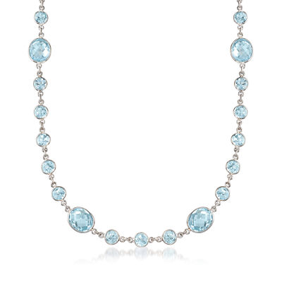 55.00 ct. t.w. Bezel-Set Blue Topaz Necklace in Sterling Silver, , default