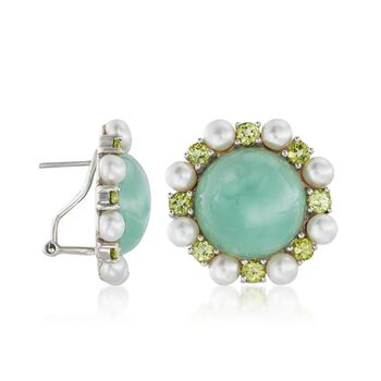 16mm Jade and 4-4.5mm Cultured Pearl Earrings with Peridot in Sterling Silver , , default