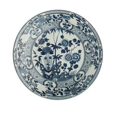 Blue and White Porcelain Decorative Lotus Flower Platter , , default